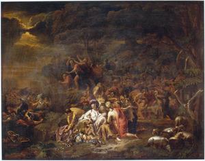 De farao van Egypte en zijn leger komen om in de Rode Zee, terwijl de joden de droge oever bereiken  (Exodus 14:26-27)