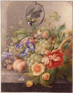 Vruchten -  en bloemstilleven met muis op een marmeren richel, erboven een koolmees op een metalen ring