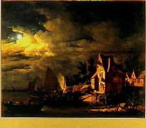 Rivierlandschap met een veerboot bij een aanlegplaats, bij nacht