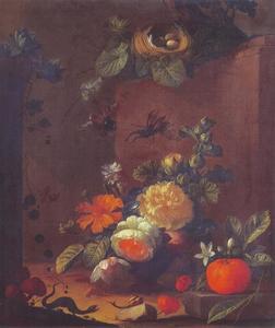 Stilleven met bloemen, vruchten en insekten