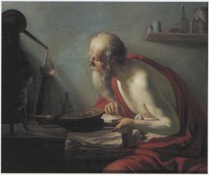 Een alchemist aan het werk in zijn werkplaats