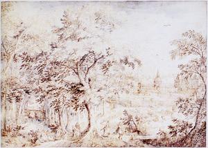 Boslandschap met elegant gezelschap, rechts een kasteel met park