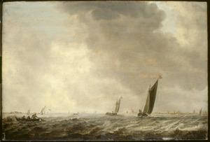 Plasgezicht met twee zeilboten en een vissersbootje