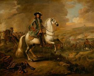 Willem III tijdens de Slag aan de Boyne op 11 juli 1690