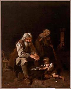 Interieur met een oude man en een jongen bij een vuurkorf op de achtergrond veegt een vrouw de vloer