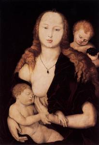 Maria met het Christus-kind en een engel
