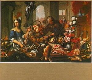 Keukeninterieur met vruchten, groente, gevogelte en een boeket bloemen; rechts een doorkijk met Christus bij Maria en Martha