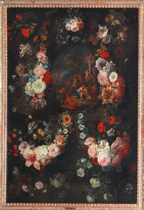 Cartouche stilleven van bloemen rondom een bacchanaal van putti