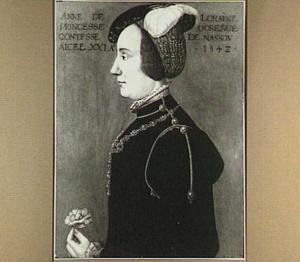 Portret van Anne de Lorraine (1522-1568), echtgenote van van René van Châlon, prins van Oranje (ca. 1518-1544)