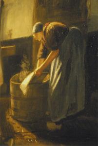 Interieur met wassende vrouw