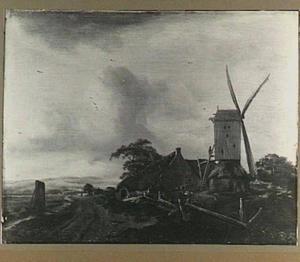 Landschap met boerderij en een windmolen