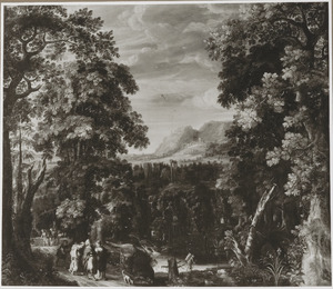Boslandschap met Jacob, Rachel en Lea vluchtend voor Laban  (Genesis 31:17-18)