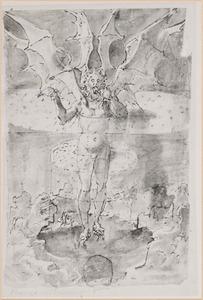 Lucifer vastgevroren in de onderste circel van de hel