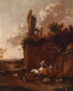 Zuidelijk landschap met herderinnen bij een ruïne