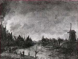 Brandende stad aan rivier