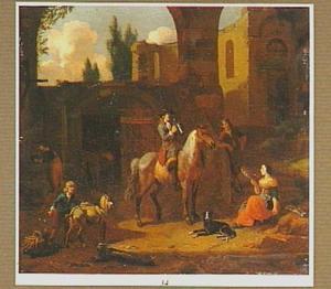 Binnenplaats voor een stal met drinkende ruiter