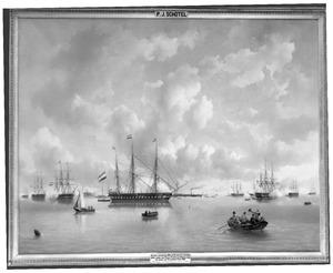 De komst van Koning Willem II ter rede van Vlissingen op de ochtend van 19 juli 1843 ter inspectie van het eskader onder bevel van Z.K.H. Prins Hendrik der Nederlanden
