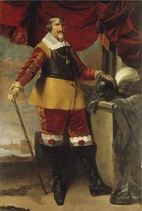 Portret van koning Christiaan IV van Denemarken (1577-1648) met op de achtergrond Slot Frederiksborg