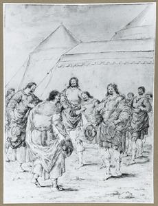 Soldaten en andere figuren begroeten elkaar voor een tent