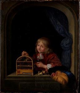 Jongen met vogelkooi in een venster