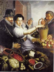 Marktkraam met elegant paar, traditioneel geïdentificeerd als François Perrenot de Granvelle (1559-1607) en Mademoisell Gaille, en een oudere man tussen de groente en het fruit