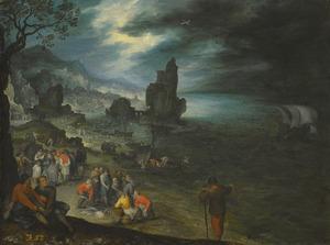 Weids kustlandschap met vissers die hun waren verkopen en het offer van Jona in de achtergrond