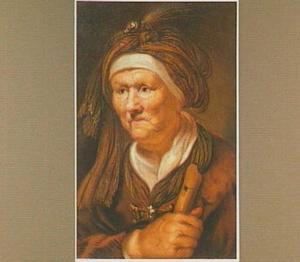 Oude vrouw met tulband en een blokfluit