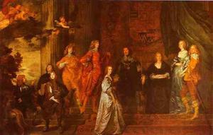 Portret van Philip Herbert, 4th Earl of Pembroke en 1st Earl of Montgomery (1584-1650) en zijn tweede echtgenote Lady Anne Clifford, 14th Baroness de Clifford (1590-1676) en zijn overlevende kinderen uit zijn eerste huwelijk en Mary Villiers, de toekomstige vrouw van Lord Charles Herbert