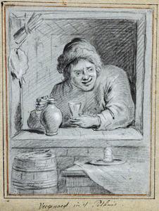 Man met kruik en glas in vensteropening van een pothuis
