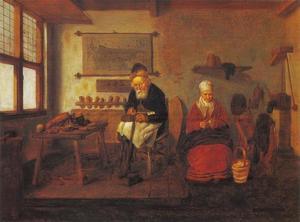 Schoenmaker in zijn werkplaats met een vrouw die vruchten schilt