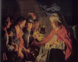 Christus voor de hogepriester Kajafas, die zijn klederen scheurt