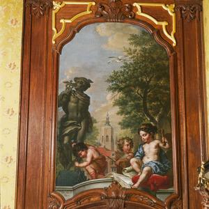 Allegorie op de kunsten met de Jacobstoren op de achtergrond