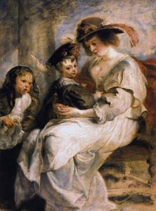 Portret van Helena Fourment (1614-1673) met Clara-Johanna (1632-1689) en Frans Rubens (1614-1673)