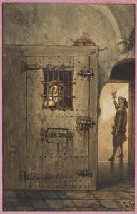 Gevangenis met figuren in 17de-eeuws kostuum (historische scène?)