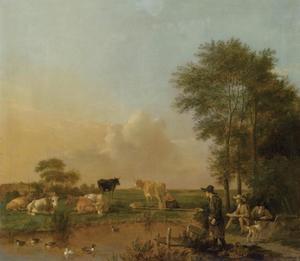 Weidelandschap met runderen, een visser en een tekenaar