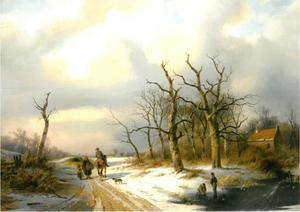 Winterlandschap met een ruiter met een boerin