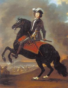 Ruiterportret van Peter de Grote ter gelegenheid van de slag bij Poltava in 1709