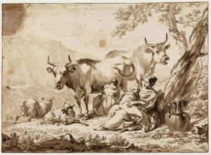 Twee vrouwen en een kind met vee in een berglandschap