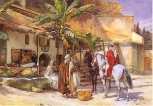 Dorpsbewoners in gesprek met twee gewapende ruiters, Algiers
