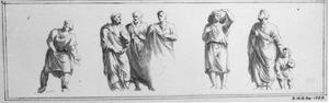 Staande mannen in toga en andere figuren