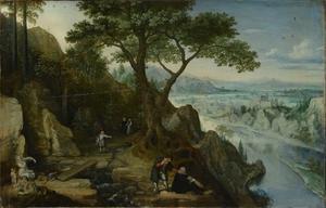 Rivierlandschap met Linz in de achtergrond; iIn de voorgrond een zelfportret van de kunstenaar