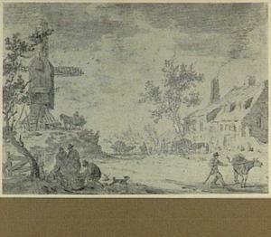 Landschap met molen en figuren