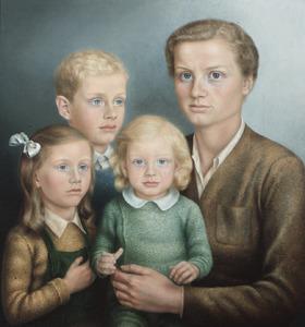 Portret van Bernardine Mijnssen-s'Jacob met haar drie kinderen