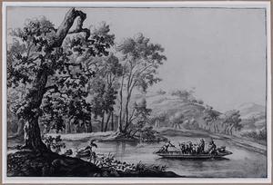 Heuvelachtig rivierlandschap met veerpont