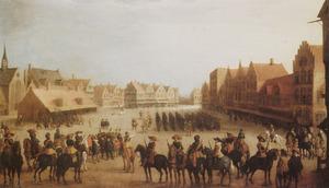De afdanking van de Waardgelders door prins Maurits op de Neude te Utrecht op 31 juli 1618