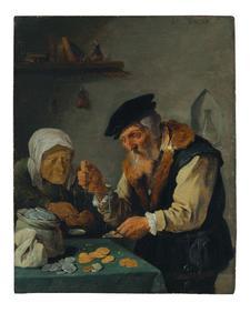 Bejaard paar weegt munten