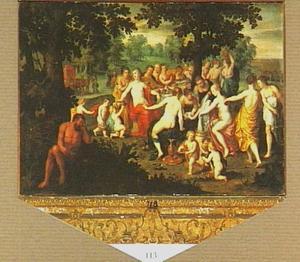 Nausikaä en haar metgezellinnen feestend op het strand, in de struiken rust Hercules