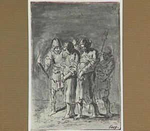 De vrouw van Lazarillo en de aartspriester worden 's nachts gevangengenomen (Lazarillo de Tormes dl. 2, cap. 10, p. 85)