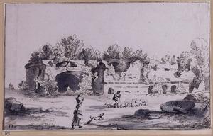 Herder met vee voor romeinse ruïne