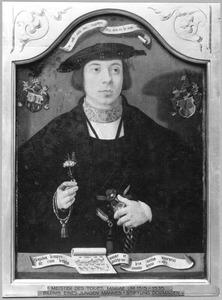 Portret van een jongeman met muziekblad